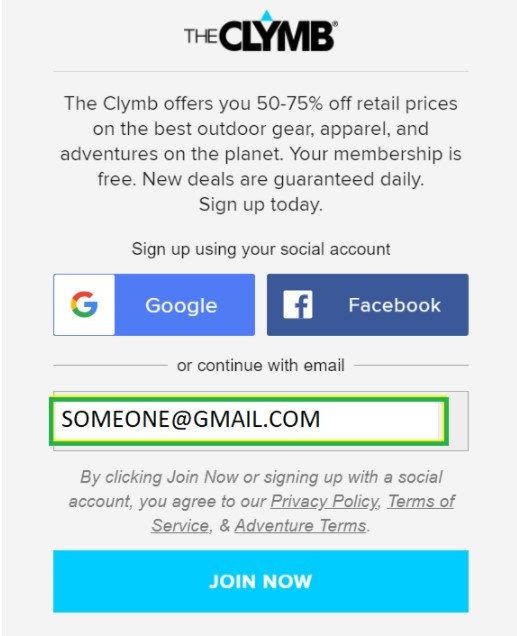 The Clymb Sign-up Process
