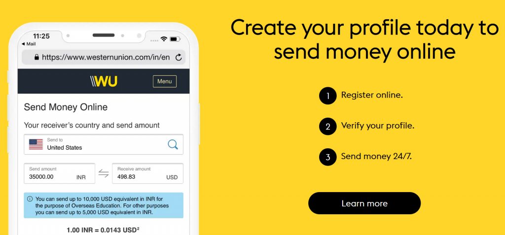 Western Union promo code $ sign up process