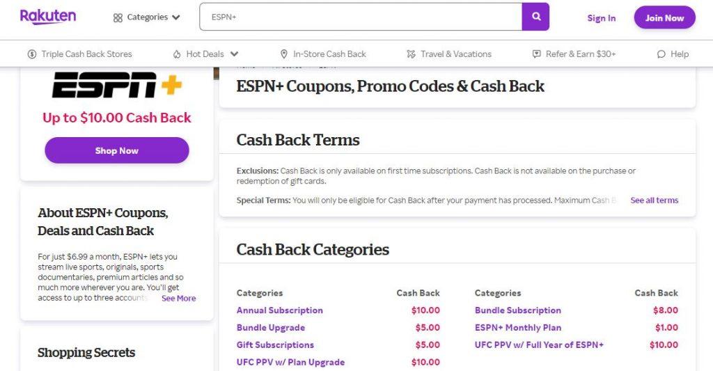 Rakuten ESPN $40 Subscription